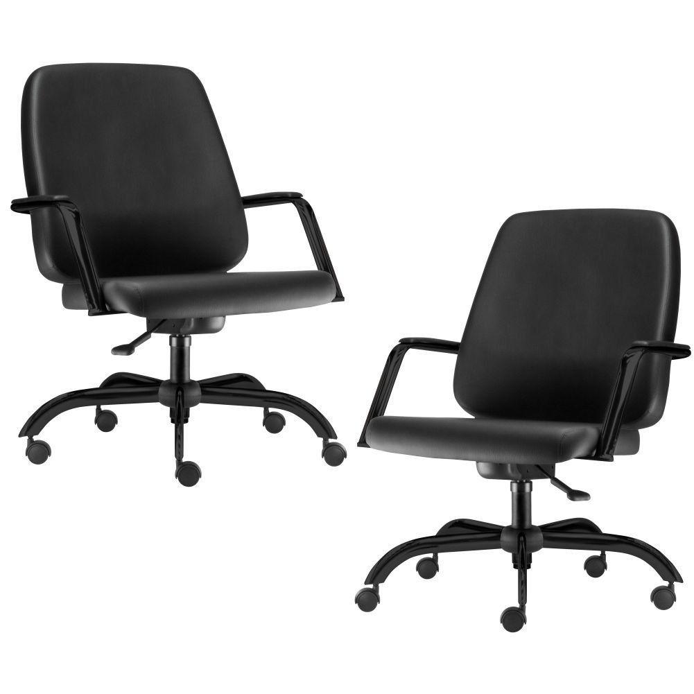 Kit 02 Cadeiras Executiva Diretor Base Giratória Preto Maxxer F02 Couro Ecológico Preto - Lyam Decor