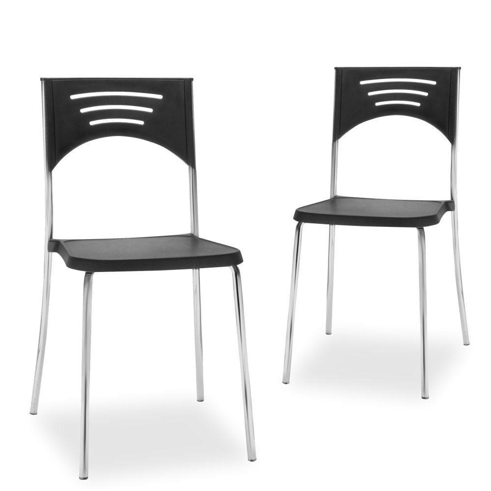 Kit 02 Cadeiras Fixa Base Cromada Empilhável Bliss F02 Preto - Lyam Decor