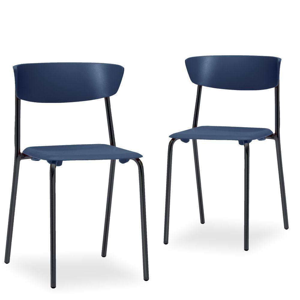 Kit 02 Cadeiras Fixa Base Preta Empilhável Bit F02 Azul Marinho - Lyam Decor