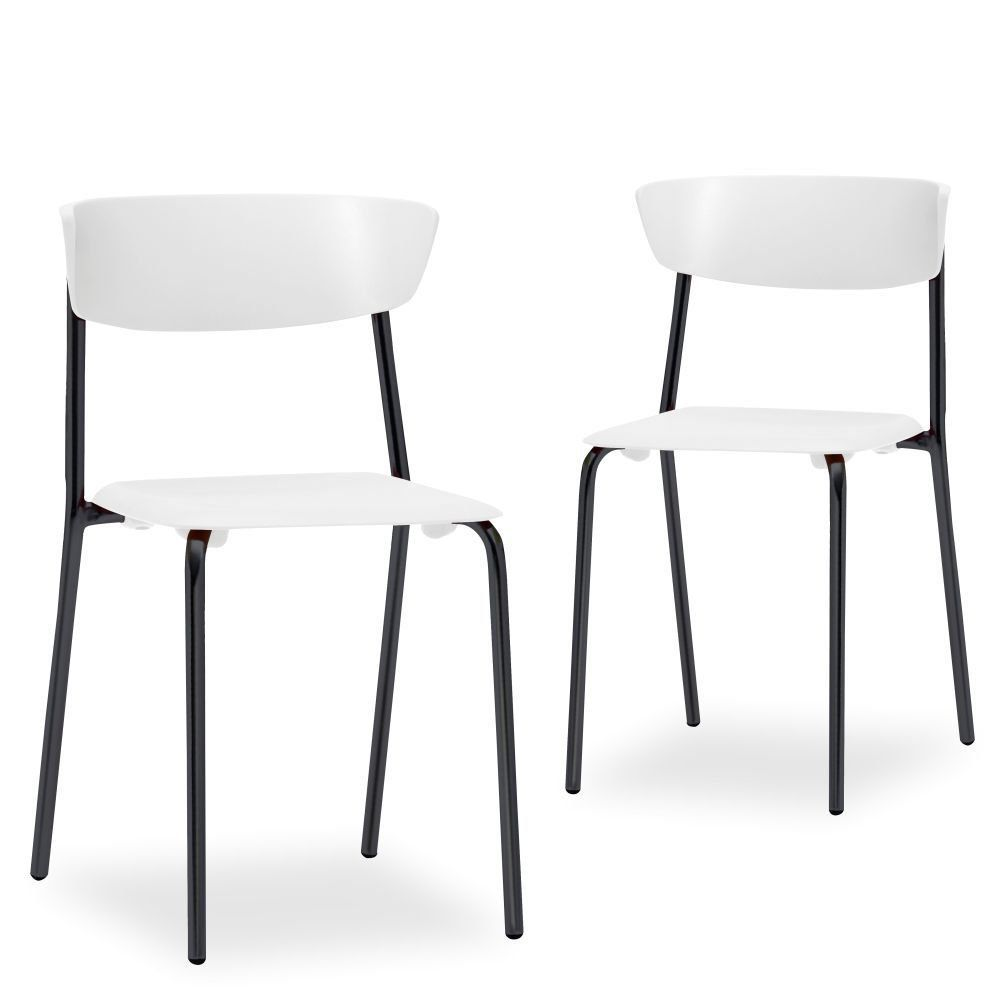 Kit 02 Cadeiras Fixa Base Preta Empilhável Bit  F02 Branco - Lyam Decor