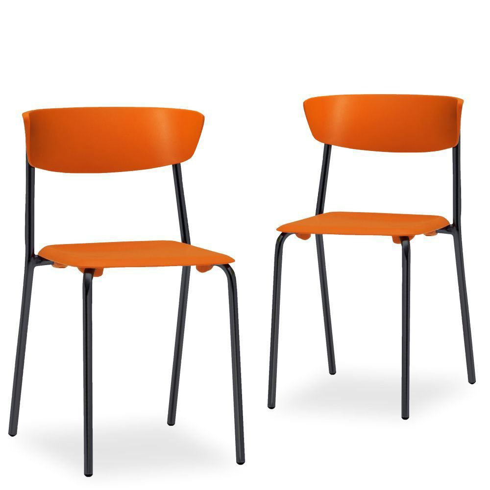 Kit 02 Cadeiras Fixa Base Preta Empilhável Bit F02 Laranja - Lyam Decor
