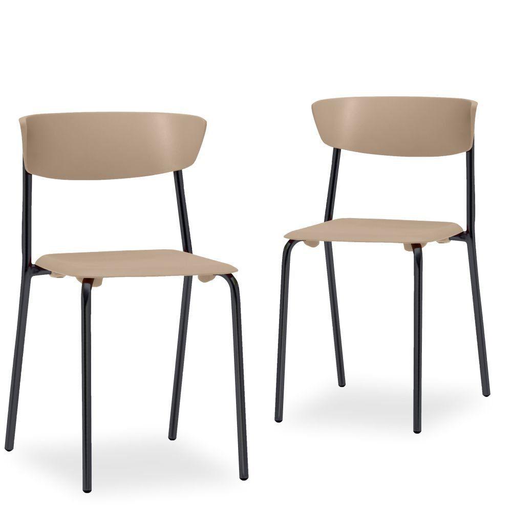 Kit 02 Cadeiras Fixa Base Preta Empilhável Bit  F02 Nude - Lyam Decor