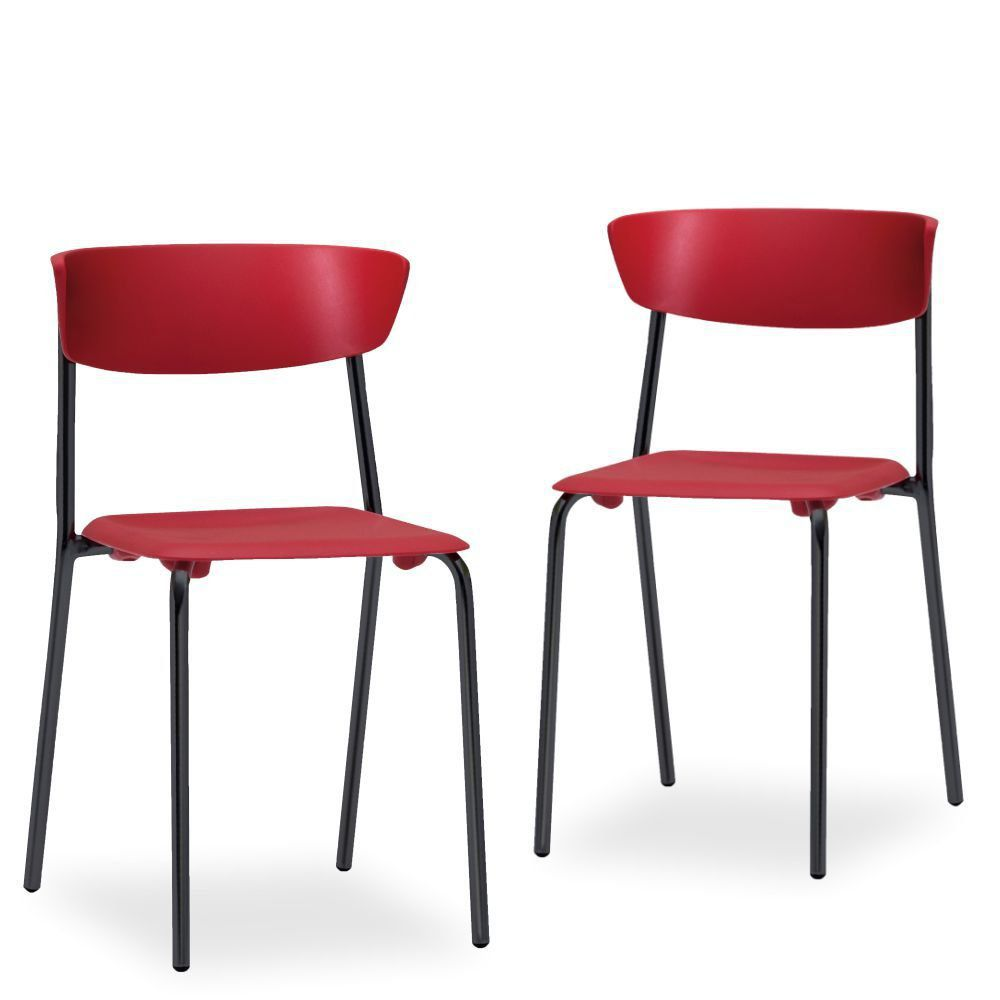 Kit 02 Cadeiras Fixa Base Preta Empilhável Bit F02 Vermelho - Lyam Decor