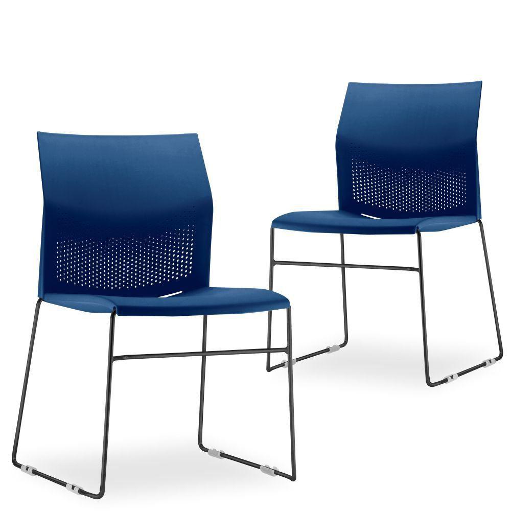 Kit 02 Cadeiras Fixa Base Preta Empilhável Connect F02 Azul Marinho - Lyam Decor