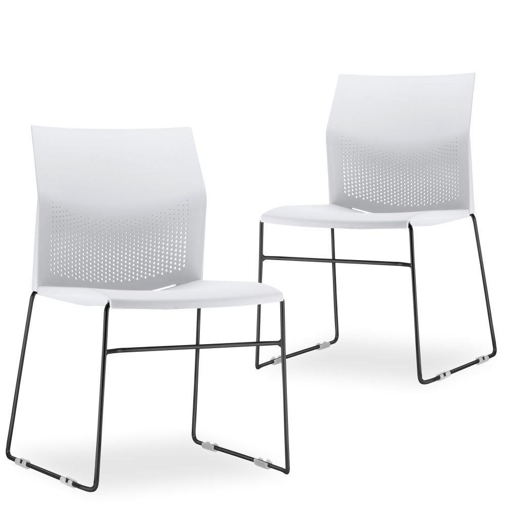 Kit 02 Cadeiras Fixa Base Preta Empilhável Connect F02 Branco - Lyam Decor