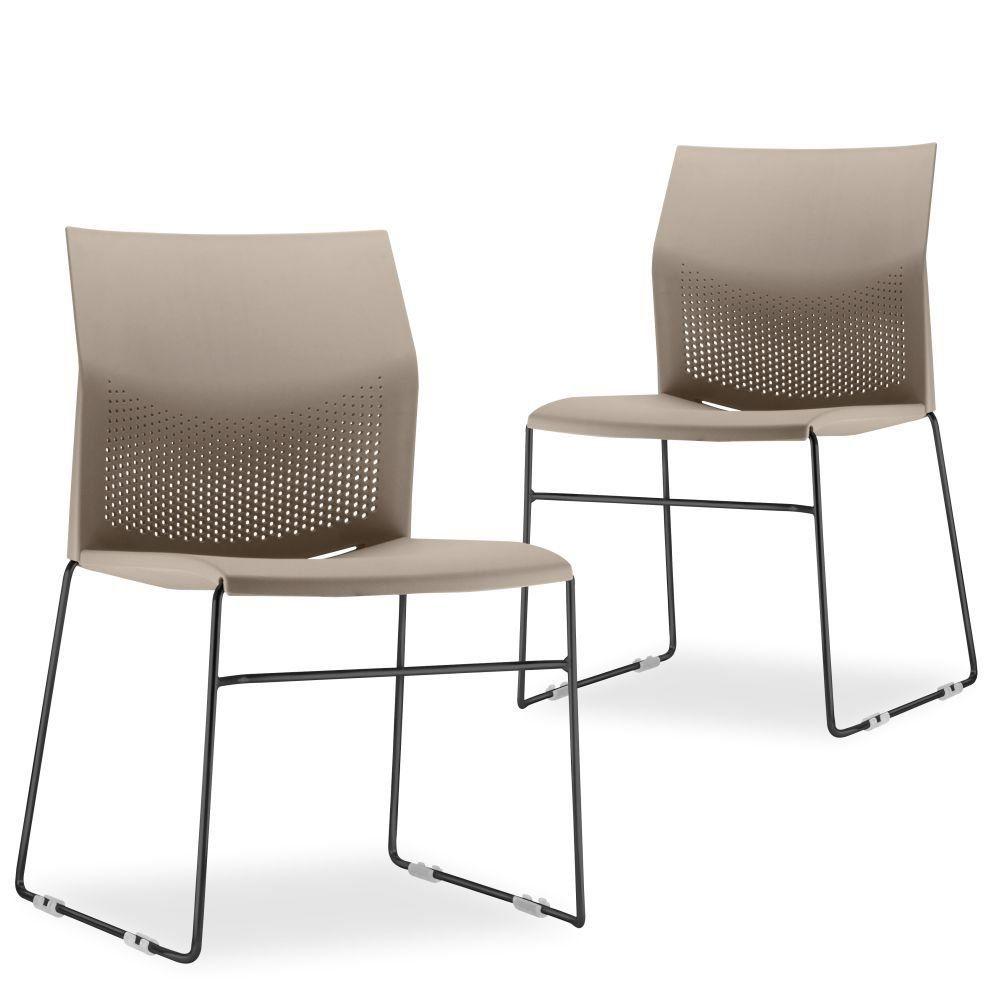Kit 02 Cadeiras Fixa Base Preta Empilhável Connect Nude - Lyam Decor