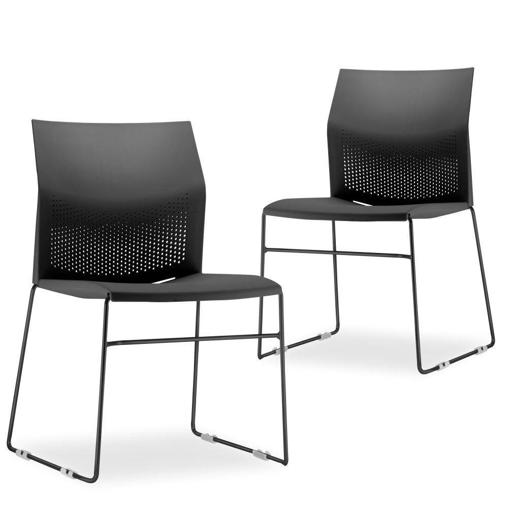 Kit 02 Cadeiras Fixa Base Preta Empilhável Connect F02 Preto - Lyam Decor