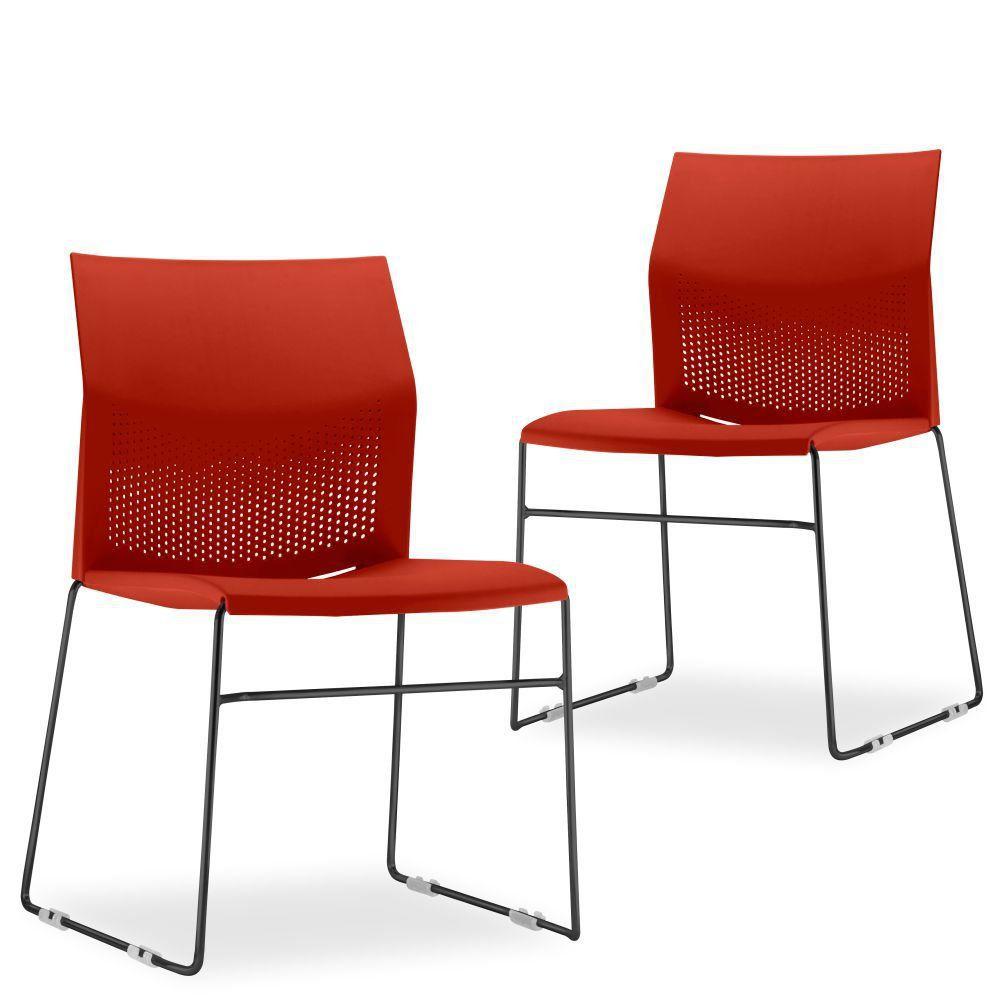 Kit 02 Cadeiras Fixa Base Preta Empilhável Connect F02 Vermelho - Lyam Decor