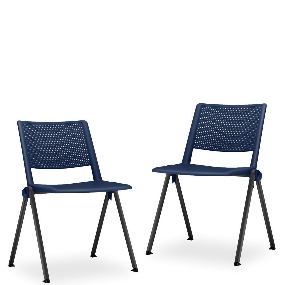 Kit 02 Cadeiras Fixa Base Preta Empilhável Up F02 Azul Marinho - Lyam Decor