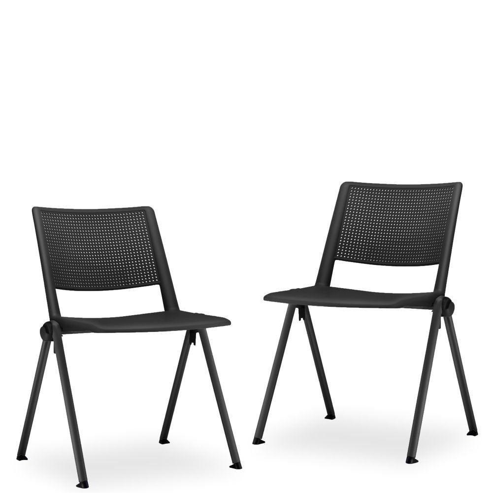 Kit 02 Cadeiras Fixa Base Preta Empilhável Up F02 Preto - Lyam Decor