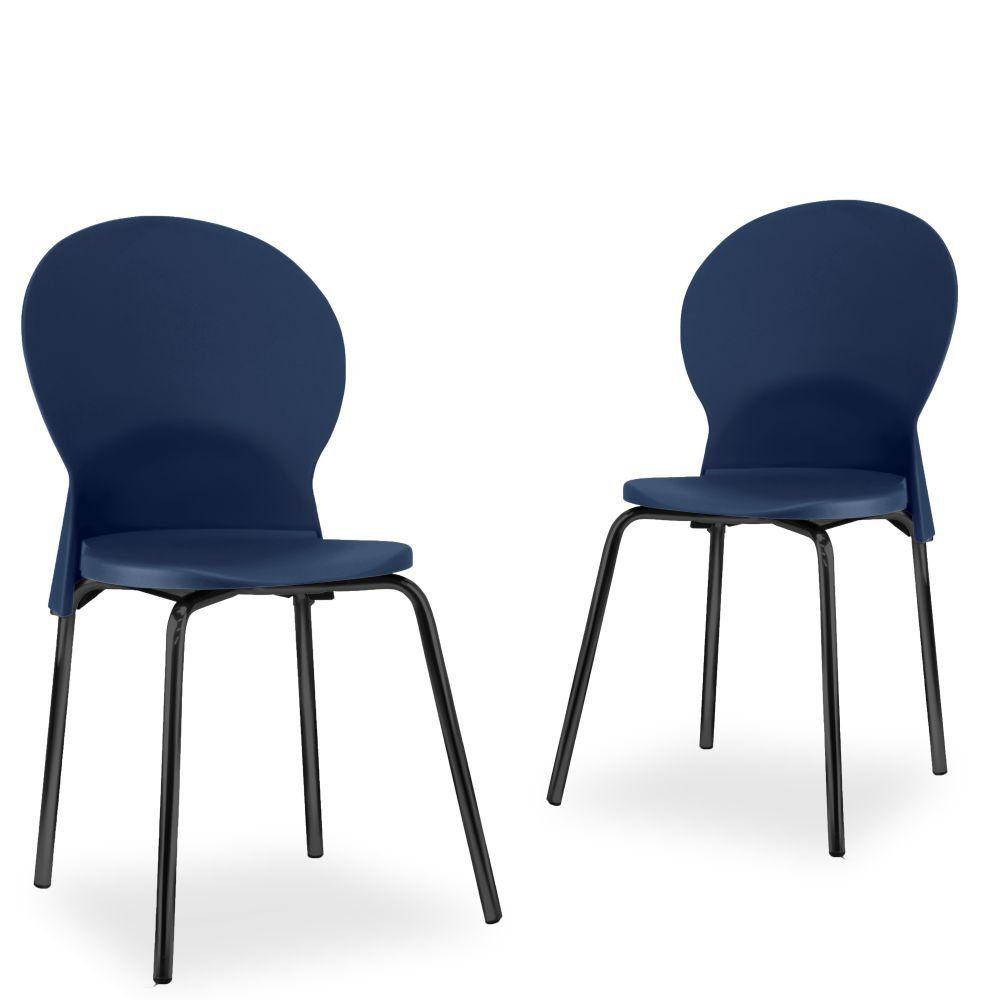 Kit 02 Cadeiras Fixa Base Preta Luna F02 Azul Marinho - Lyam Decor