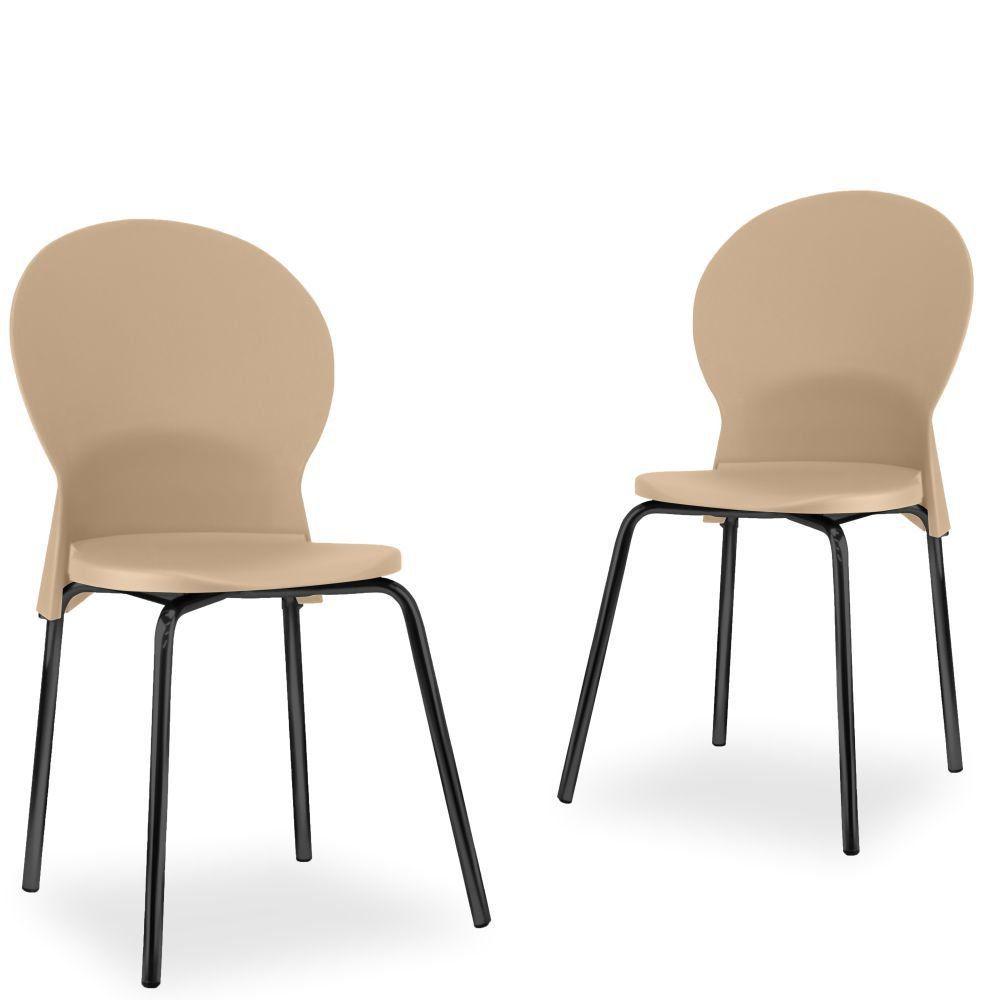 Kit 02 Cadeiras Fixa Base Preta Luna F02 Bege - Lyam Decor