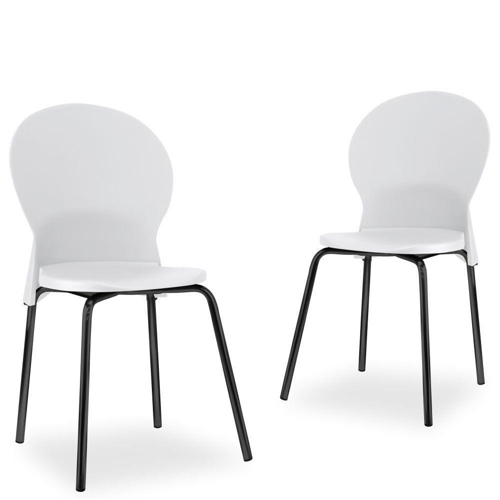 Kit 02 Cadeiras Fixa Base Preta Luna F02 Branco - Lyam Decor