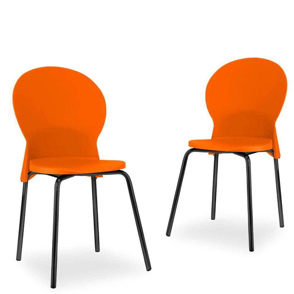 Kit 02 Cadeiras Fixa Base Preta Luna F02 Laranja - Lyam Decor