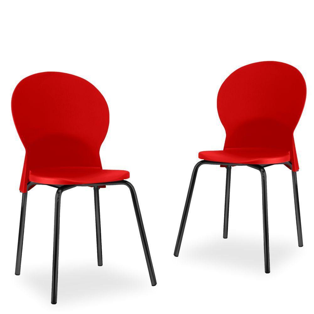 Kit 02 Cadeiras Fixa Base Preta Luna F02 Vermelho - Lyam Decor