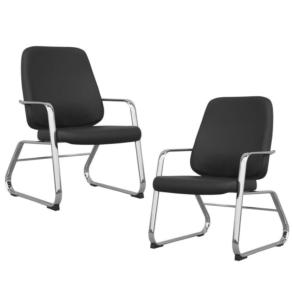 Kit 02 Cadeiras Executiva Diretor Base Fixa Cromado Maxxer F02 Couro Ecológico Preto - Lyam Decor
