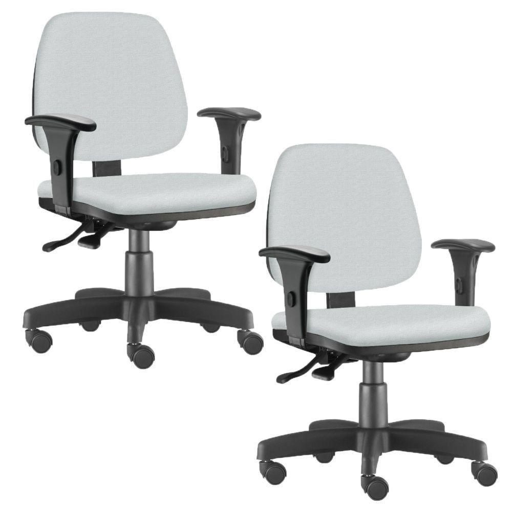 Kit 02 Cadeiras Giratória Job L02 Executiva Ergonômica Escritório Couro Sintético Branco - Lyam Decor