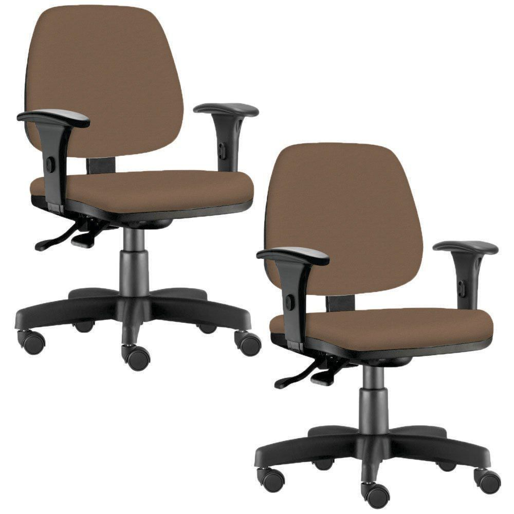 Kit 02 Cadeiras Giratória Job L02 Executiva Ergonômica Escritório Couro Sintético Camel - Lyam Decor