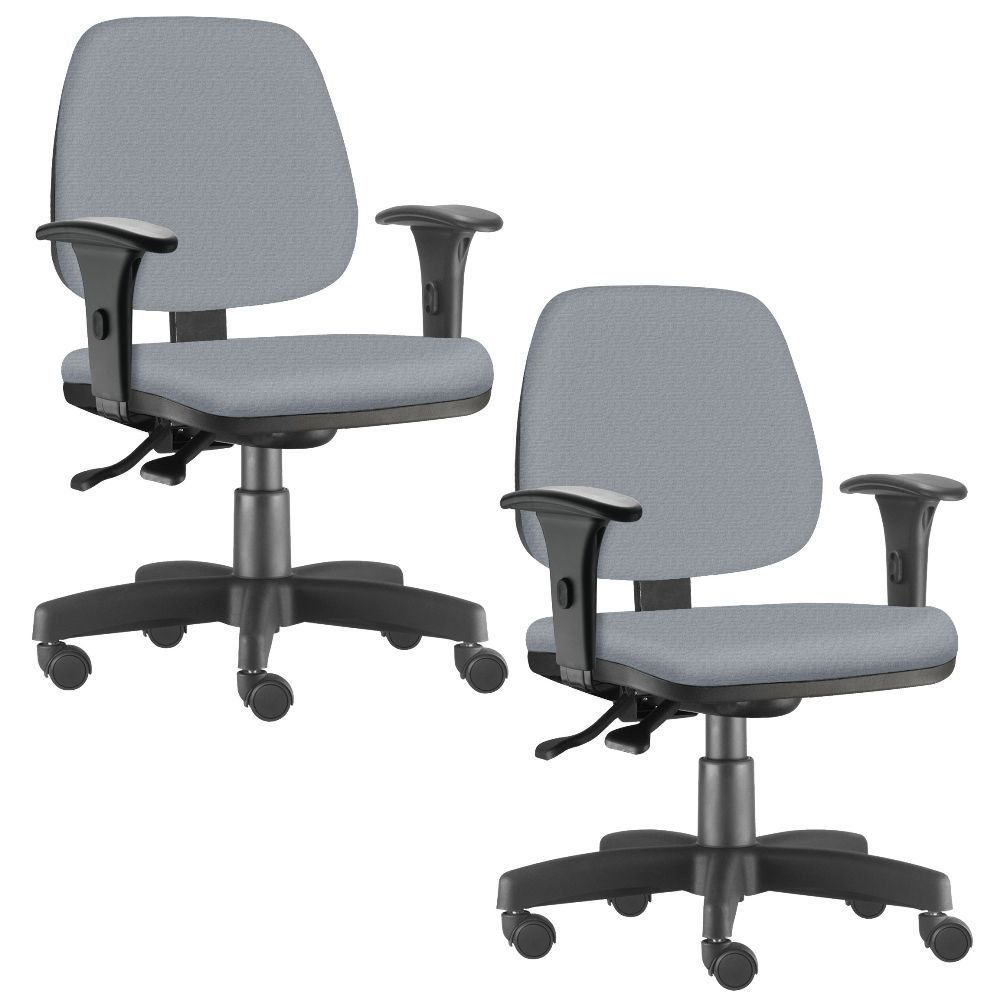 Kit 02 Cadeiras Giratória Job L02 Executiva Ergonômica Escritório Couro Sintético Cinza- Lyam Decor