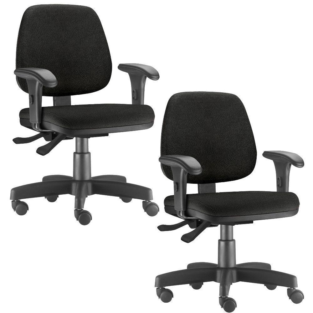 Kit 02 Cadeiras Giratória Job L02 Executiva Ergonômica Escritório Couro Sintético Preto - Lyam Decor