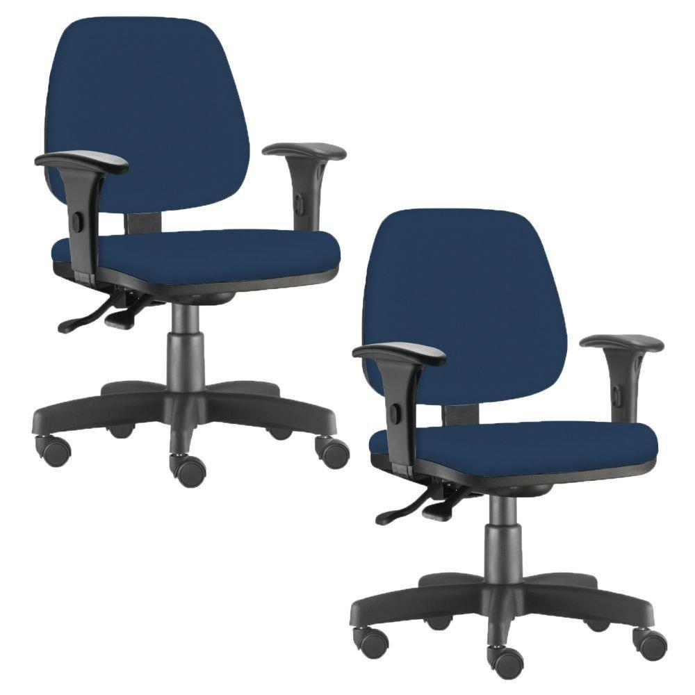Kit 02 Cadeiras Giratória Job L02 Executiva Ergonômica Escritório Crepe Azul Marinho - Lyam Decor