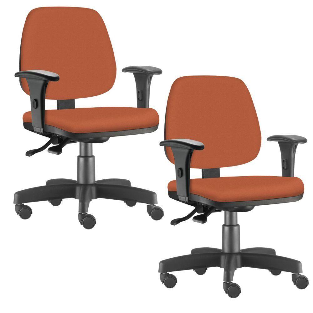 Kit 02 Cadeiras Giratória Job L02 Executiva Ergonômica Escritório Suede Laranja - Lyam Decor