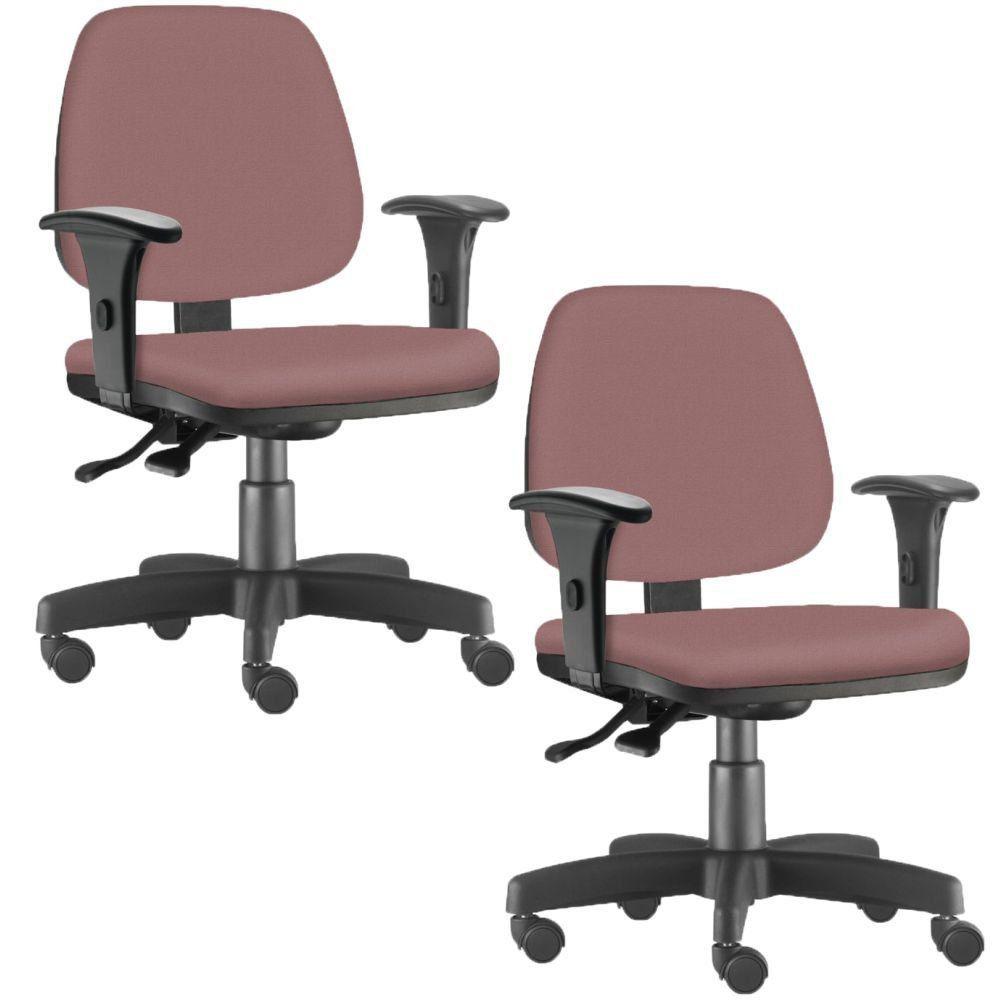 Kit 02 Cadeiras Giratória Job L02 Executiva Ergonômica Escritório Suede Rosê - Lyam Decor