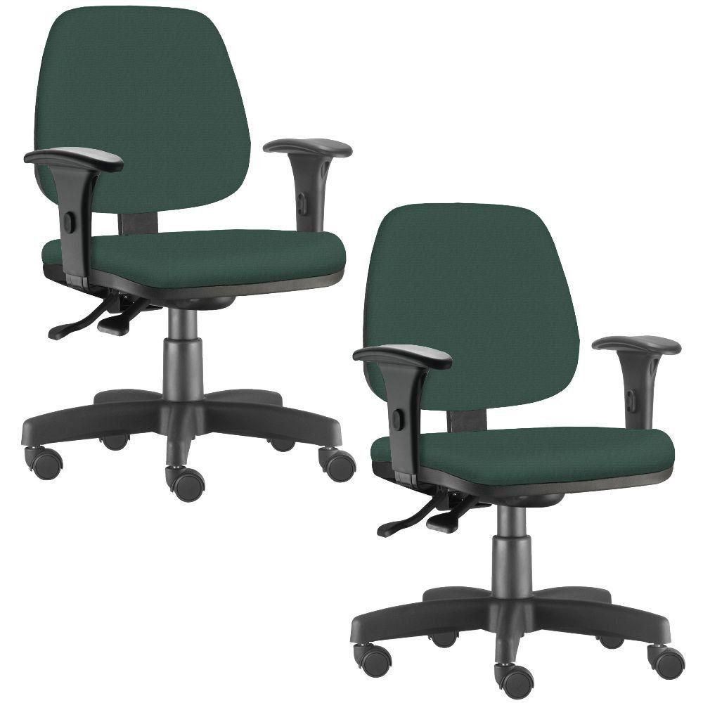 Kit 02 Cadeiras Giratória Job L02 Executiva Ergonômica Escritório Crepe Verde Musgo - Lyam Decor