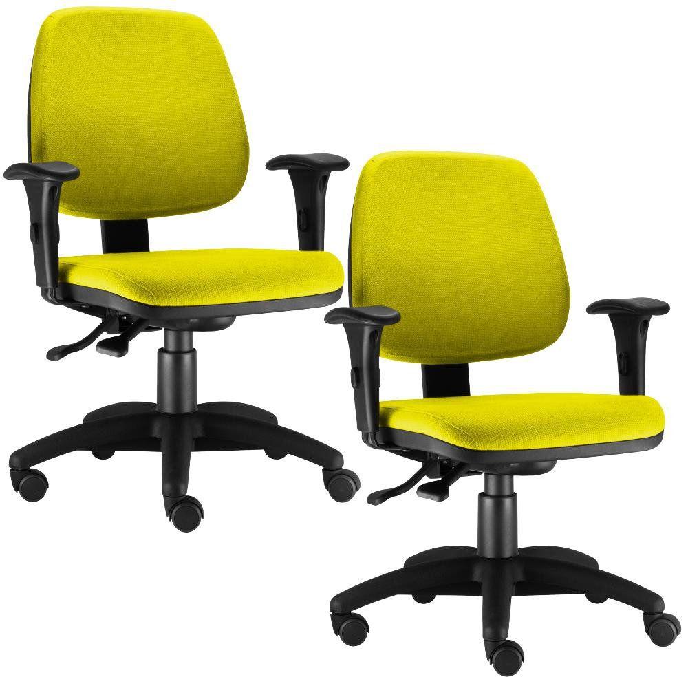 Kit 02 Cadeiras Giratória Job L02 Executiva Ergonomica Suede Amarelo - Lyam Decor