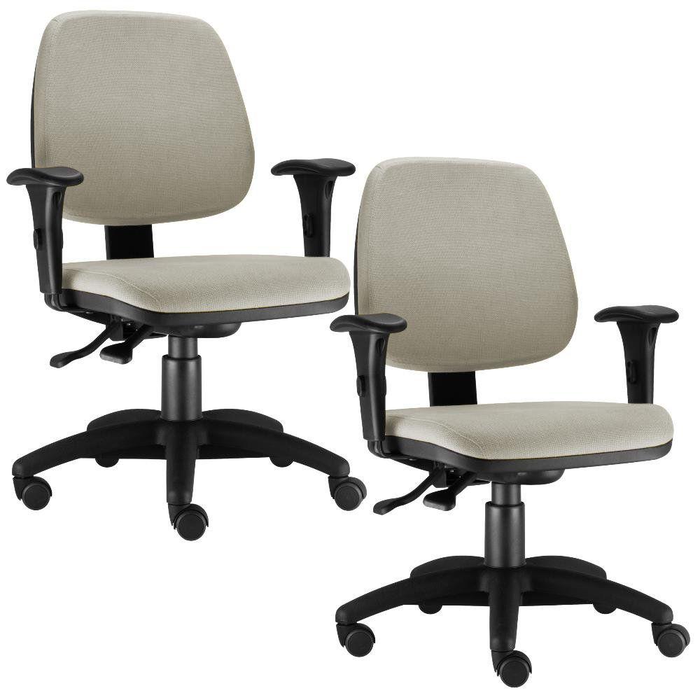 Kit 02 Cadeiras Giratória Job L02 Executiva Ergonomica Suede Bege - Lyam Decor