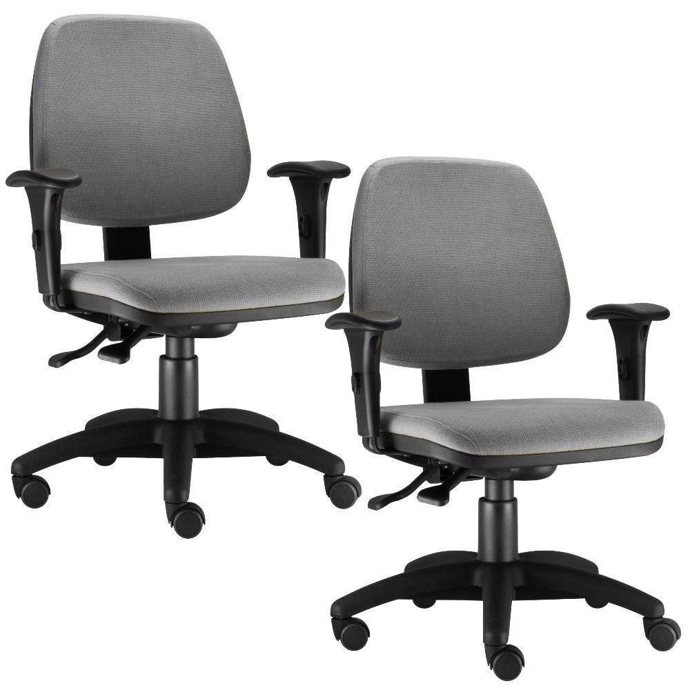 Kit 02 Cadeiras Giratória Job L02 Executiva Ergonomica Suede Cinza - Lyam Decor