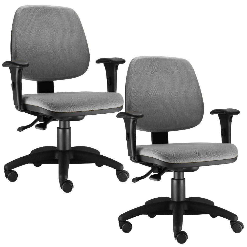 Kit 02 Cadeiras Giratória Job L02 Executiva Ergonomica Crepe Cinza - Lyam Decor