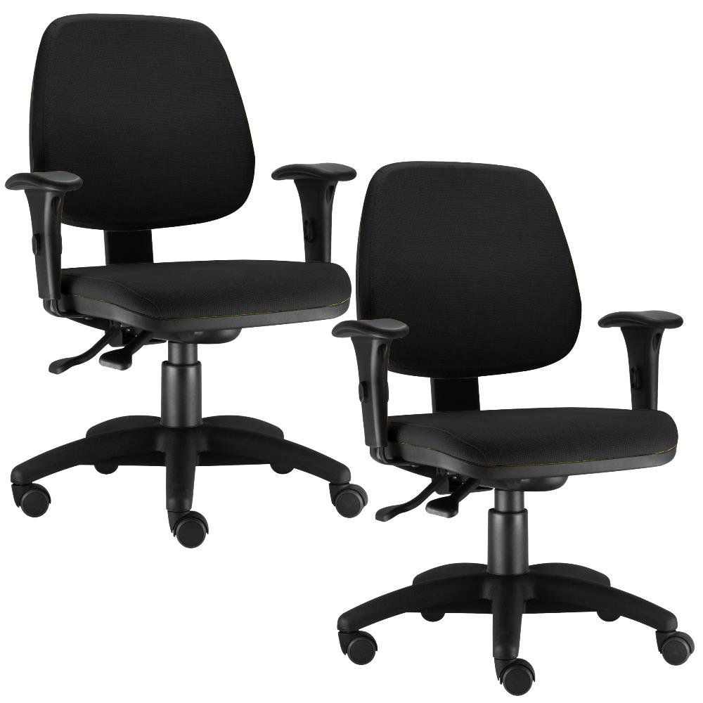 Kit 02 Cadeiras Giratória Job L02 Executiva Ergonomica Crepe Preto - Lyam Decor
