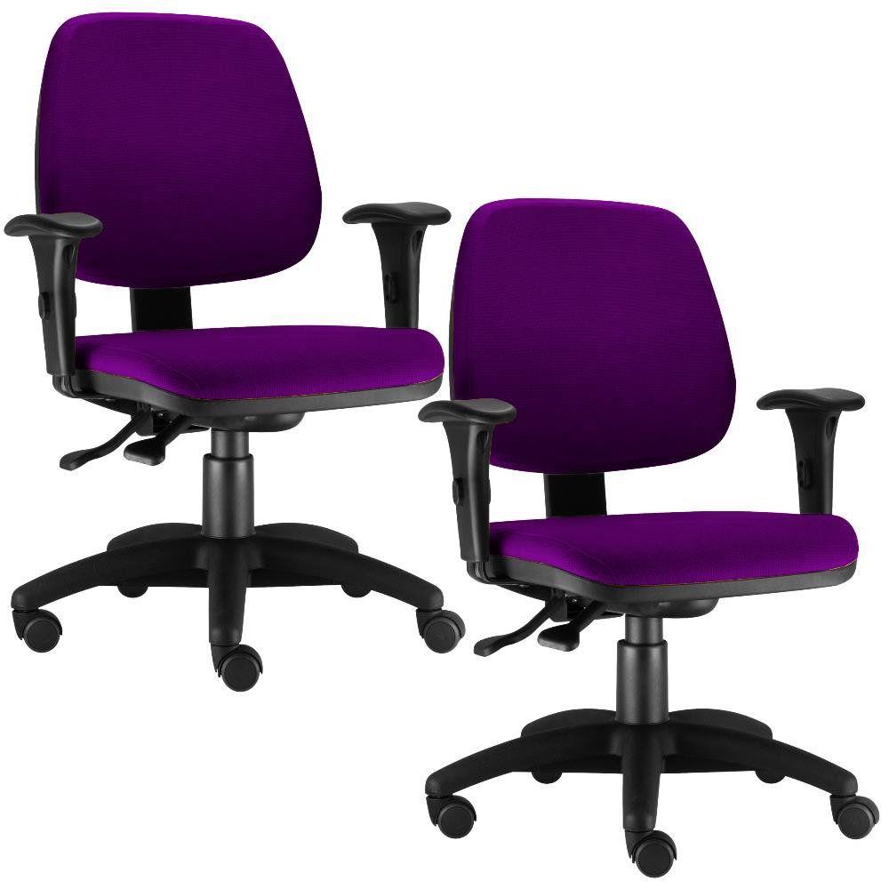Kit 02 Cadeiras Giratória Job L02 Executiva Ergonomica Suede Roxo - Lyam Decor