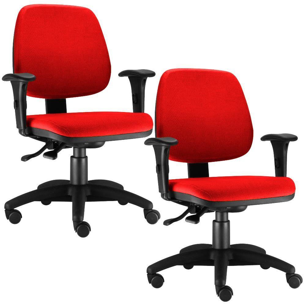 Kit 02 Cadeiras Giratória Job L02 Executiva Ergonomica Suede Vermelho - Lyam Decor