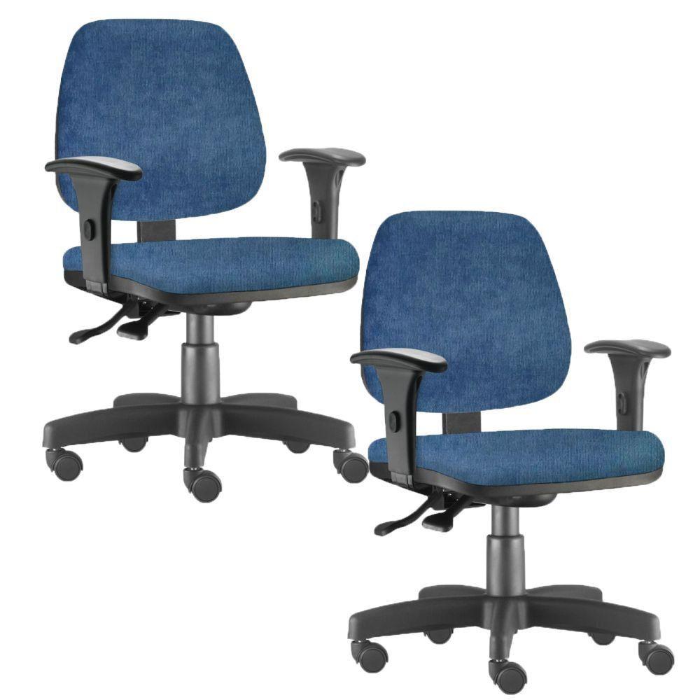 Kit 02 Cadeiras Giratória Job L02 Executiva Ergonomica Tecido Azul - Lyam Decor
