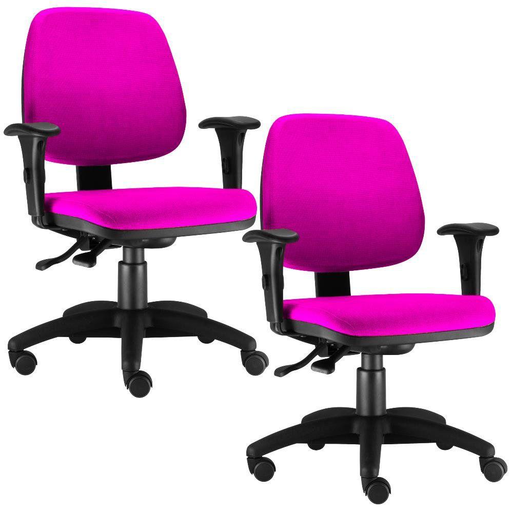 Kit 02 Cadeiras Giratória Job L02 Executiva Ergonomica Tecido Pink - Lyam Decor