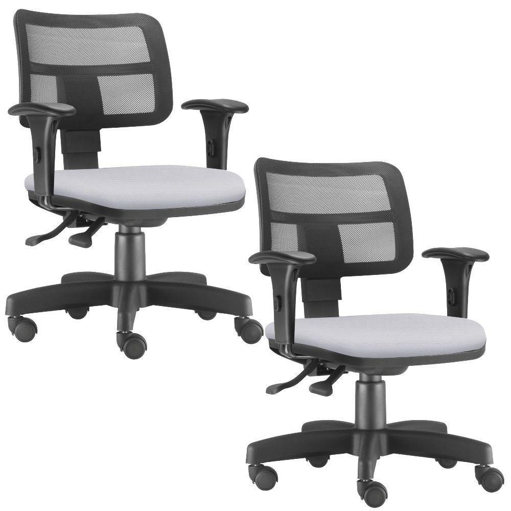 Kit 02 Cadeiras Giratórias Zip L02 Executiva Ergonômica Escritório Couro Sintético Branco - Lyam Decor