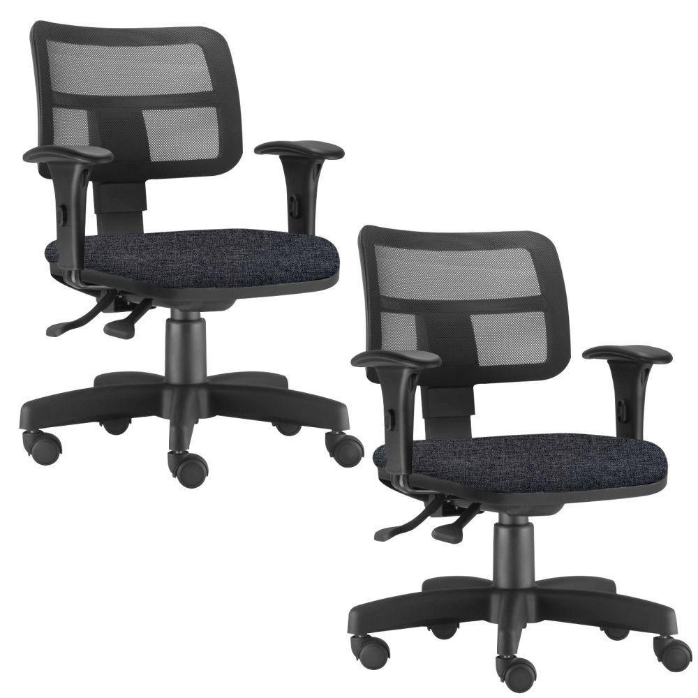 Kit 02 Cadeiras Giratória Zip L02 Executiva Ergonômica Escritório Linho Chumbo - Lyam Decor