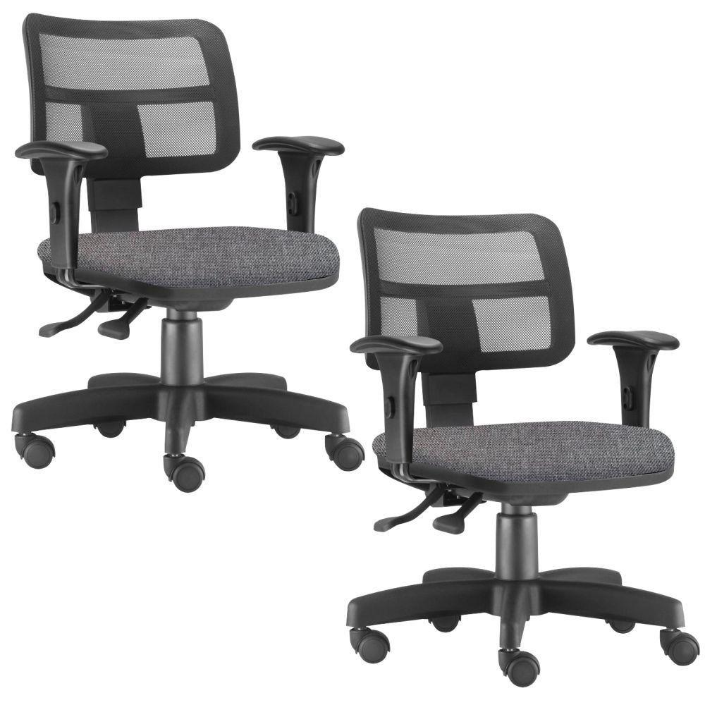 Kit 02 Cadeiras Giratória Zip L02 Executiva Ergonômica Escritório Linho Cinza Escuro - Lyam Decor