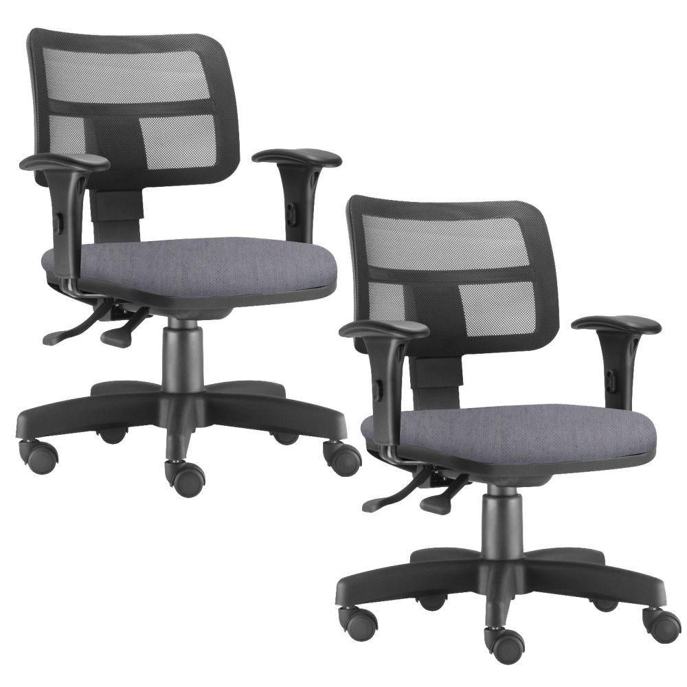 Kit 02 Cadeiras Giratória Zip L02 Executiva Ergonômica Escritório Linho Cinza - Lyam Decor