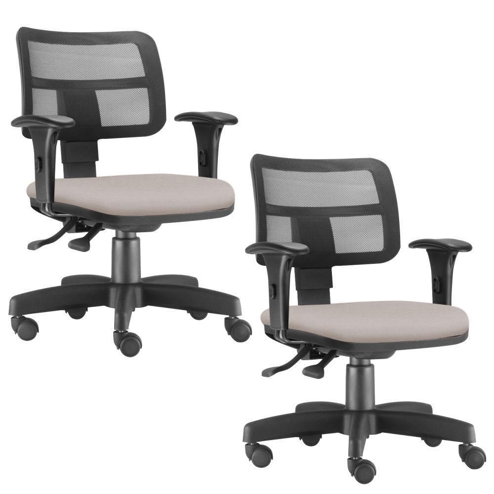 Kit 02 Cadeiras Giratória Zip L02 Executiva Ergonômica Escritório Linho Bege - Lyam Decor