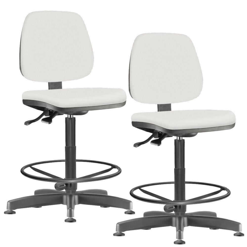 Kit 02 Cadeiras Caixa Alta Giratória Job L02 Couro Sintético Branco - Lyam Decor