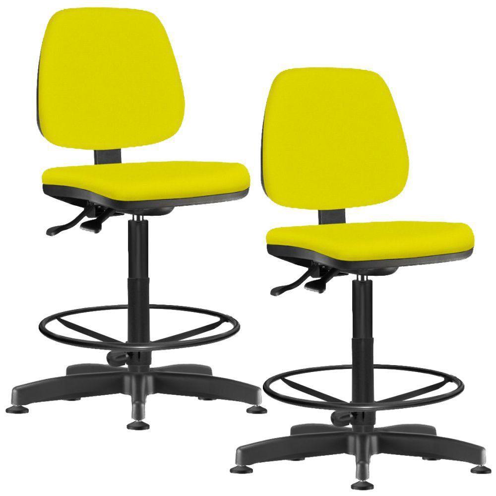 Kit 02 Cadeiras Caixa Alta Giratória Job L02 Suede Amarelo - Lyam Decor