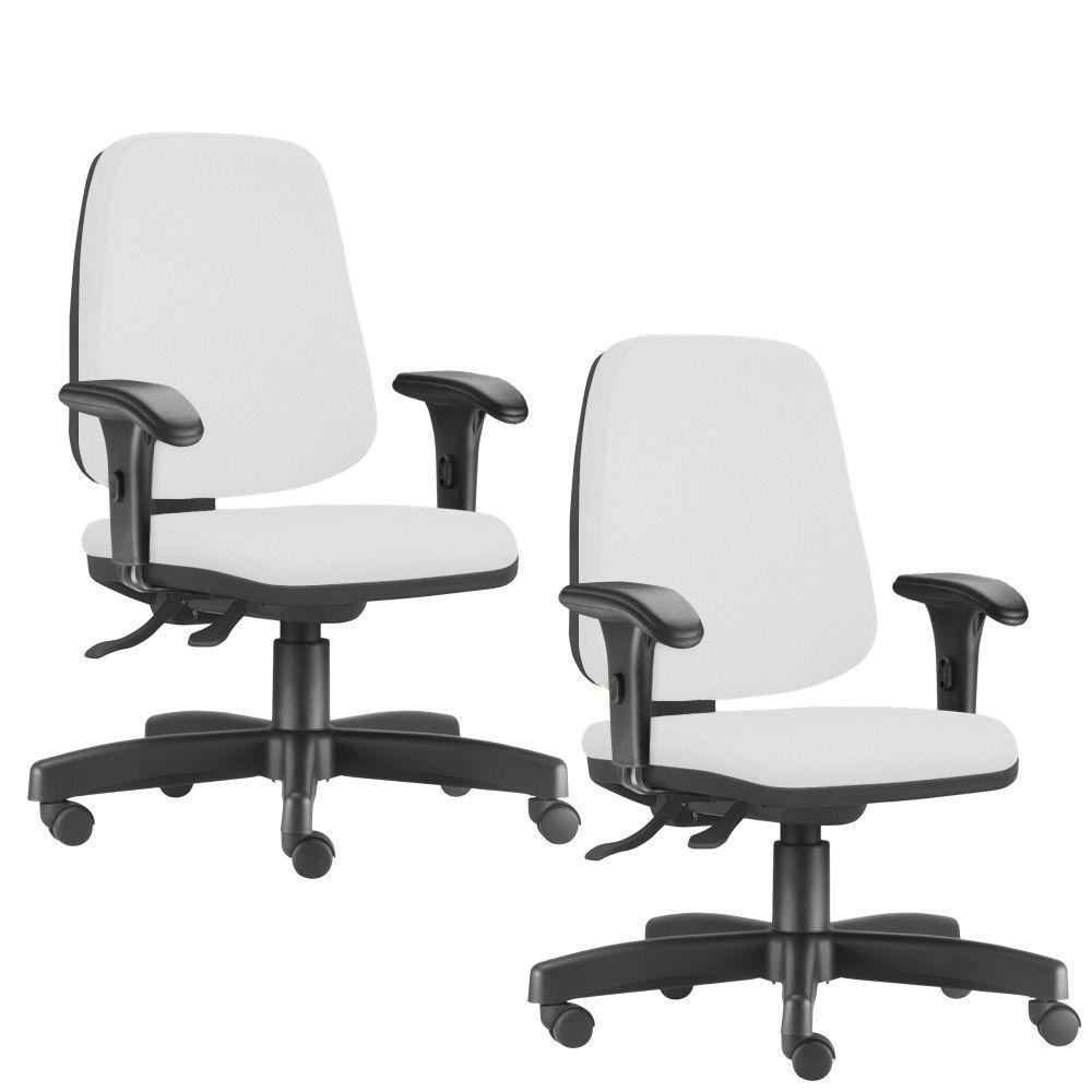 Kit 02 Cadeiras Giratórias Job L02 Diretor Executiva Couro Sintético Branco - Lyam Decor