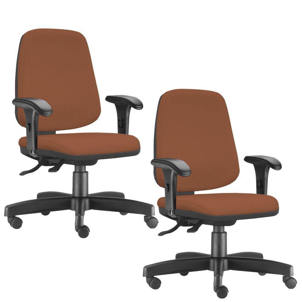 Kit 02 Cadeiras Giratórias Job L02 Diretor Executiva Couro Sintético Camel - Lyam Decor