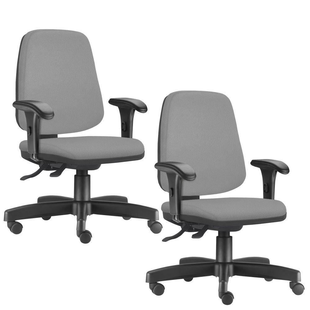 Kit 02 Cadeiras Giratórias Job L02 Diretor Executiva Couro Sintético Cinza - Lyam Decor