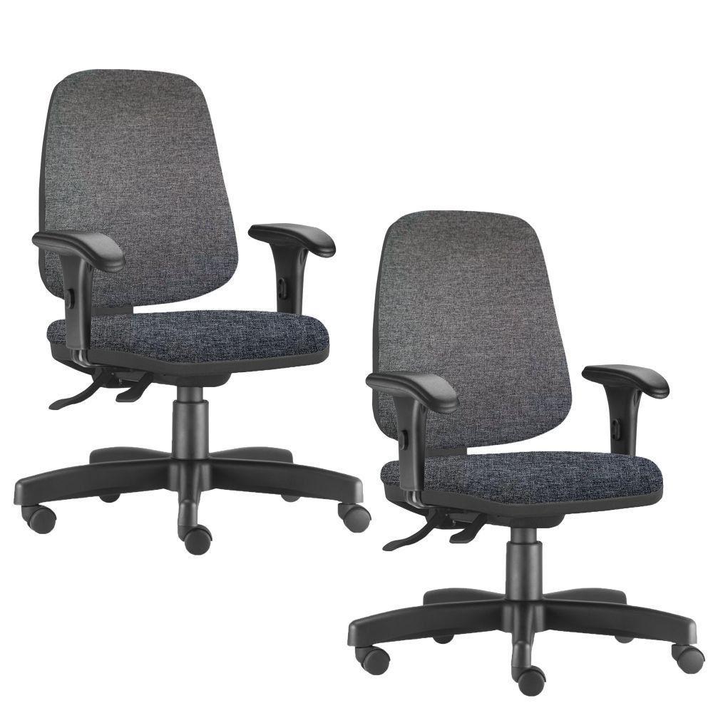 Kit 02 Cadeiras Giratórias Job L02 Diretor Executiva Linho Chumbo - Lyam Decor