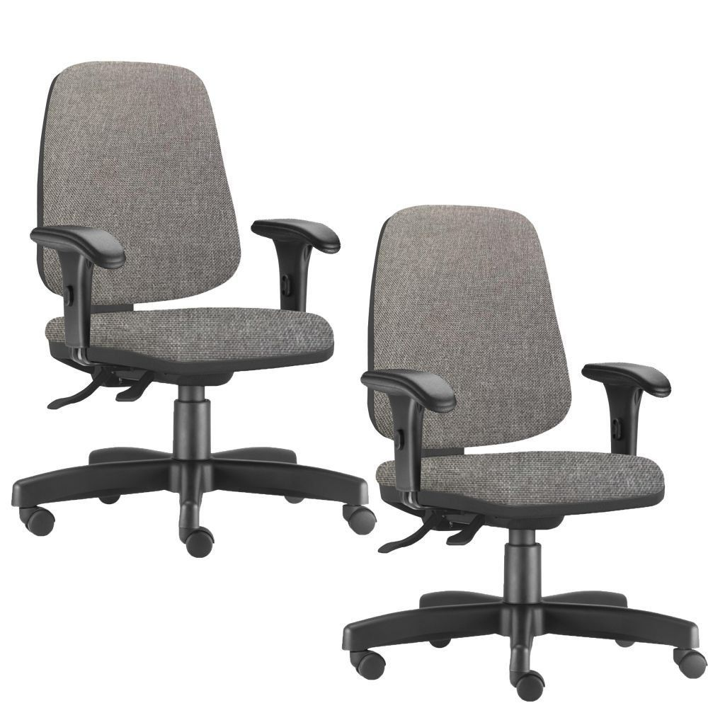 Kit 02 Cadeiras Giratórias Job L02 Diretor Executiva Linho Cinza Escuro - Lyam Decor