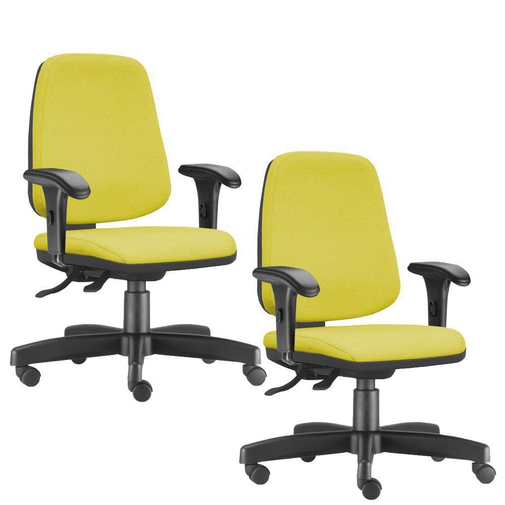 Kit 02 Cadeiras Giratórias Job L02 Diretor Executiva Suede Amarelo - Lyam Decor